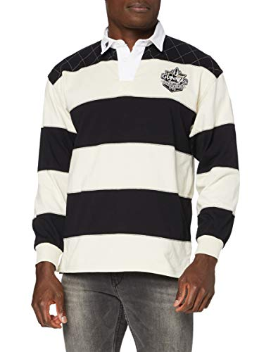 Guinness Camisetas de manga larga de rugby y fútbol, para hombre, talla 3XL, color negro/crema