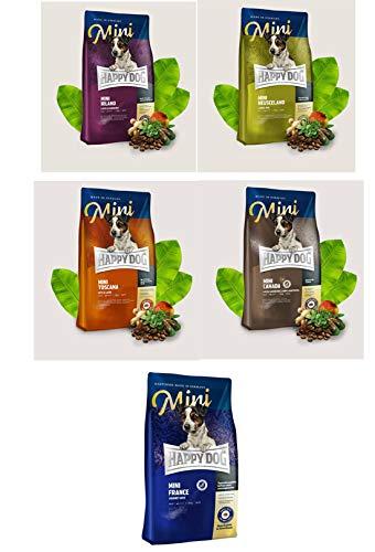 Interquell Happy Dog- 5 x 300g Mini: Irland, Neuseeland, Canada, Toscana und France