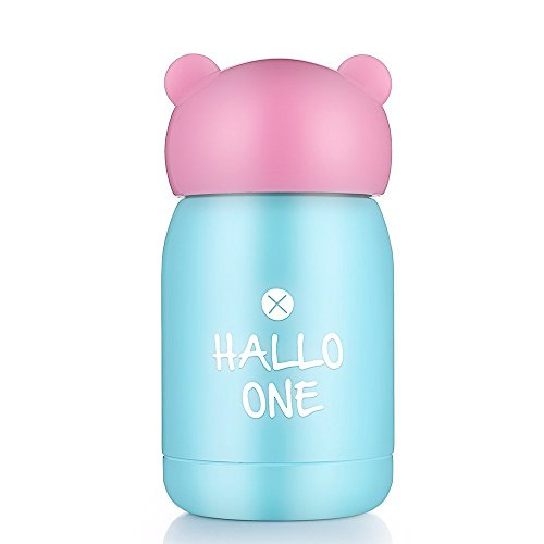 ONE IS ALL GYBL140 145ML Portable Mini Travel Thermo Mug, Vacuum Insulated Stainless Steel Thermos Water Bottle, Coffee Thermos & Vacuum Flask, 144g (Pink+Blue)