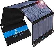 BigBlue 28W tragbar Solar Ladegerät 2-Port USB 4 wasserdichte Solarpanel mit digital Amperemeter und Reißverschluss zum...