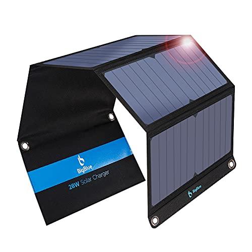 BigBlue 28W tragbar Solar Ladegerät 2-Port USB 4 wasserdichte Solarpanel mit digital Amperemeter und Reißverschluss zum Schutz - für Wiederaufladen USB-Geräte - iPhone Android GoPro usw (Mehrweg)