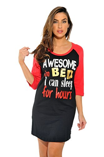 Just Love 100% Baumwolle Schlafkleid für Frauen Baseball Ärmel Nachthemd, X-Groß