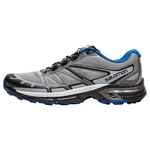 Salomon Wings Pro 2, Zapatillas de Trail Running Hombre, Gris (Monument/Black/Nautical Blue), 40 2/3 EU