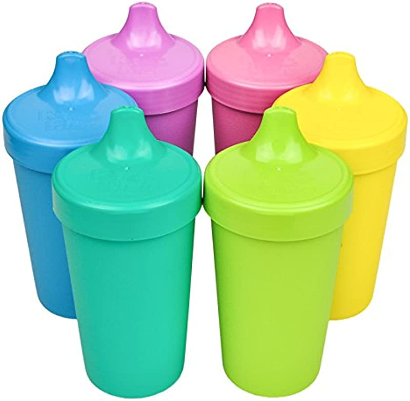 Re Play Made In The USA Set Of 6 No Spill Sippy Cups Aqua Sky Blue Purple Bright Pink Yellow Green Sorbet