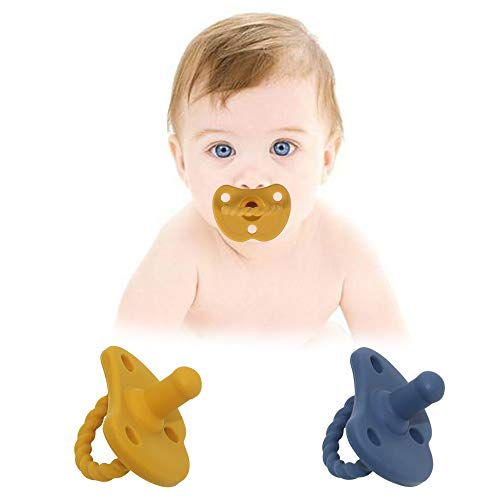 SOLIFEGOBLE Silicone Baby Pacifiers 6-12 Months, Newborn Soother Pacifier for Breastfeeding Babies,BPA-Free, 2PCS, Navy Blue and Yellow
