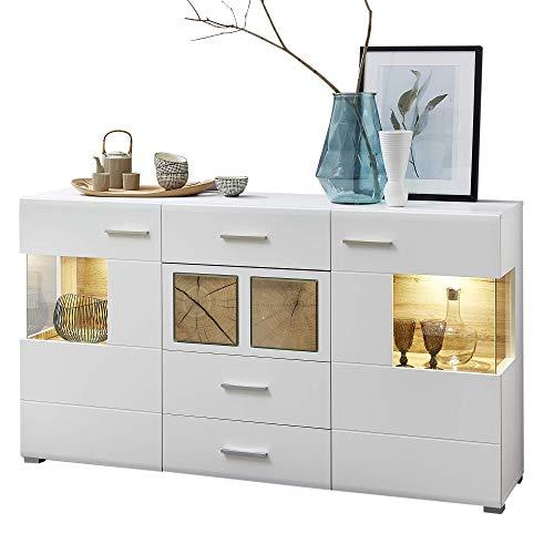 Fun Plus Sideboard weiss mit schönen Hirnholz-Applikationen - Moderne Kommode inkl. LED Beleuchtung - 170 x 94 x 42 cm (B/H/T)