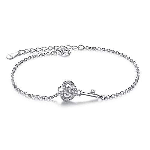 lonfenner Armbanduhr,Romantische Vintage Crystal Bracelets Sterling Silber 925 Medaillon Schlüssel Herz Charm Armbänder Armreifen Für Frauen Schmuck