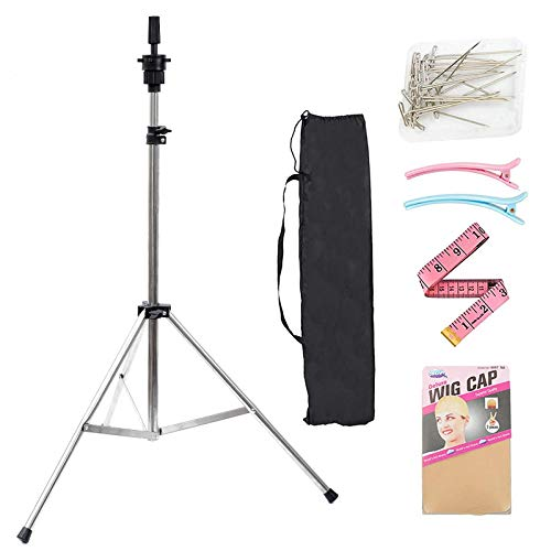 Lihui Wig Stand Tripod Wig Head Stand Mannequin Head Stand Tall Wig Stand For Styling Making Wigs Silver Wig Tripod Stand For Mannequin Head Canvas Head With Carry Bag