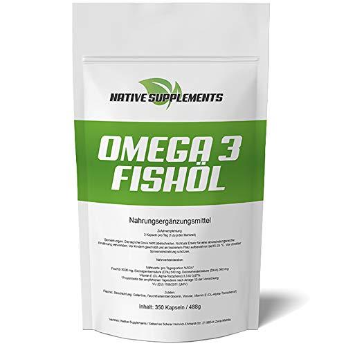 Omega 3 Fischöl-Kapseln - XXL Bulk - 350 Softgel-Kapseln - Preis-Hit Nr. 1-3000 mg reines Omega 3 - Ohne Zusätze mit 54% EPA + 36% DHA + Vitamin E - Essentielle Fettsäuren