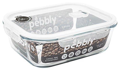 PEBBLY - PKV2250RB - Boite de conservation en verre rectangulaire 2.25 L pour cuire, conserver, transporter et réchauffer - 100% hermétique
