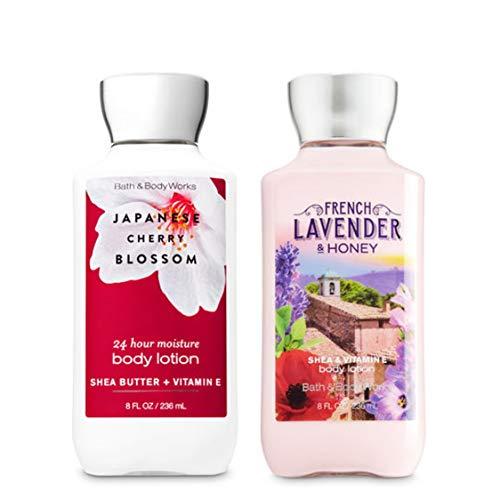Bath and Body Works Body Lotion Set - Japanese Blossom & French Lavender - 8 fl oz / 236 mL each