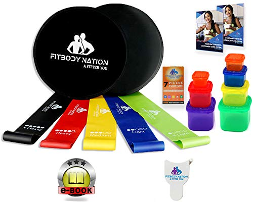 Price comparison product image FITBODYNATION 80 Day Equipment-Resistance Bands(5),  Core Sliders Fitness Discs(2) Set with 7pc Portion Control Containers for 21 Day Program,  Weight Loss E-Book Guide,  Tape,  Online Workout Video