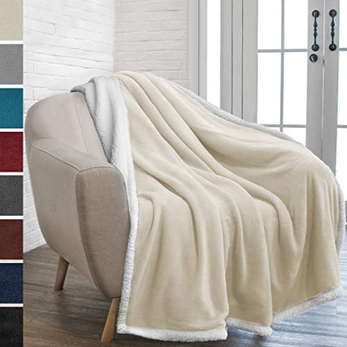 PAVILIA Premium Sherpa Fleece Throw Blanket   Soft, Plush, Fuzzy Beige Throw   Reversible Warm Cozy Microfiber Solid Blanket for Couch Sofa (Latte, 50x60 Inches)