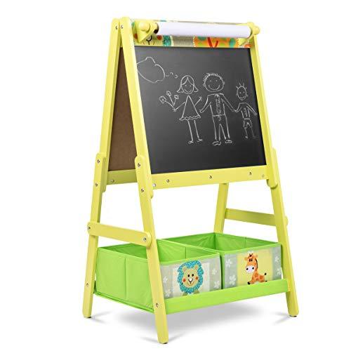 Lalaloom SWEET BOARD - Pizarra infantil con caballete de madera (juguete con doble cara, habitación para niños, pizarra magnética y de tiza con espacio almacenaje), 45x54x93 cm, color Verde