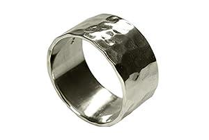 SILBERMOOS XL XXL Ringe in großen Größen Damen Herren Ring Bandring glänzend gehämmert handgeschmiedet Sterling Silber 925 Größen 64, 66, 68, 70, 72, Größe:66 (21.0)