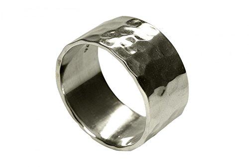 SILBERMOOS XL-Colección Anillo para hombre o mujer brillante martillado ancho Tamaño 64, 66, 68, 70, 72 Plata esterlina 925, Tamaño del anillo:30