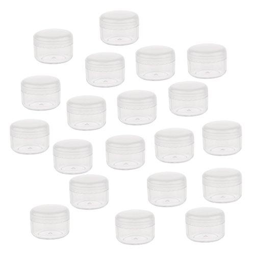 Bonarty Tarros de Crema Cosméticos de Plástico Pequeños Portátiles, Recipientes de Cosméticos Vacíos con Tapas (20 Piezas) - 5g