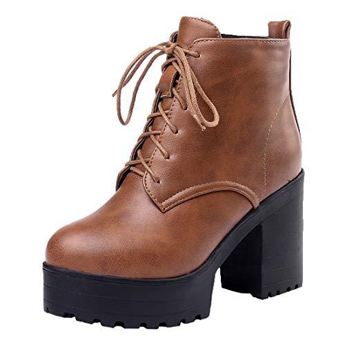 MISSUIT Damen Plateau High Heels Stiefeletten Blockabsatz Chunky Heels Ankle Boots mit Schnürung und Reißverschluss Schuhe(Braun,40)