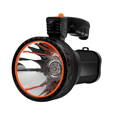 Linterna LED superbrillante, recargable, portátil, con 6000 lúmenes y 9000 mAh y función Power Bank IPX5, resistente al agua ✅