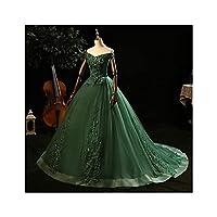 肩のボールガウン5色Quinceanera Dress Plusサイズをオフにするドレスパーティープロムレース刺繍 (Color : Green with train, Size : 12)