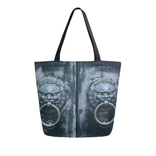 Ahomy Vintage Türklopfer Canvas Tote Bag Groß Frauen Schultertasche Wiederverwendbare Handtasche Einkaufen Lebensmitteltasche