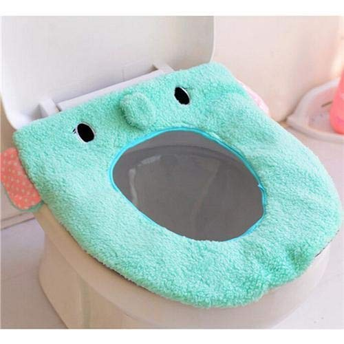 yywl Toilet Lid Seat Cover Soft Warm Long Plush Toilet Seat Cover Mat 2PC Pad Lid Comfortable Washable Warmer Health Toilet Closestool Seat Cover (Color : 4)