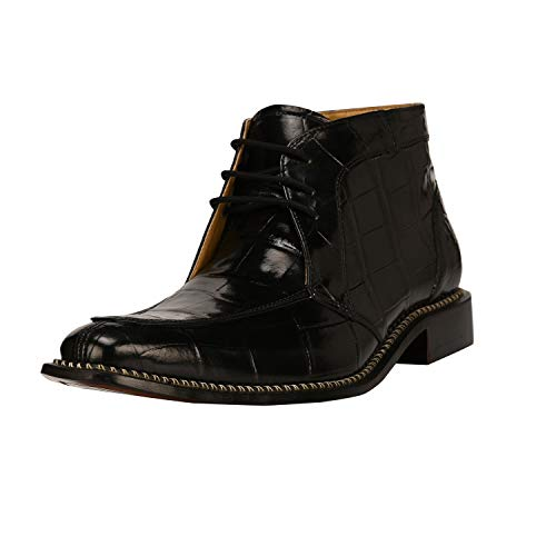 Liberty Footwear LIBERTYZENO Men's Ankle High Top Boots Side Zipper Crocodile Print Manmade Leather Lace Up Dress Shoes Black