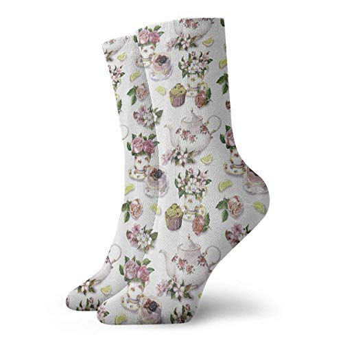 ouyjian Roses Shabby Chic Decor Vintage Teapots Crazy Novelty Long Sock Crew Athletic Tube High Medias Sport