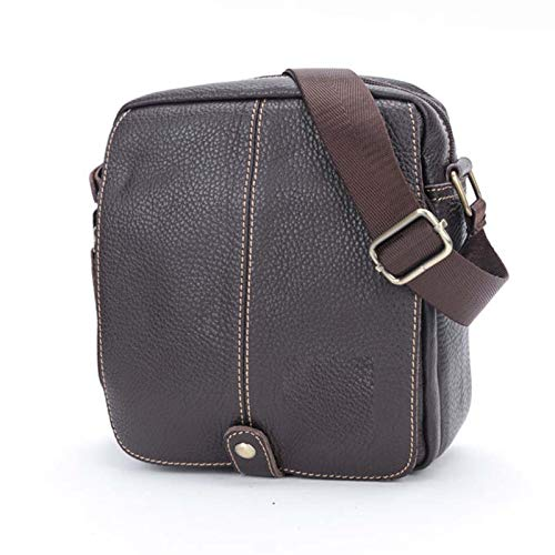 GZMUK Herren Leder Schulter Messenger Casual Street Trend Koreanische Jugend Hijab Leder Sport kleine Tasche,Brown1