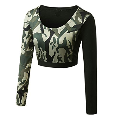 Ashui Damen Outfit Sport Yoga Fitness Bodycon Slim Jogginganzug U-Ausschnitt Langarmhemd Jumpsuit Crop Top Streatwear Trainingsanzüge für Damen Tracksuit Sportanzug Sportjacke Tarnung