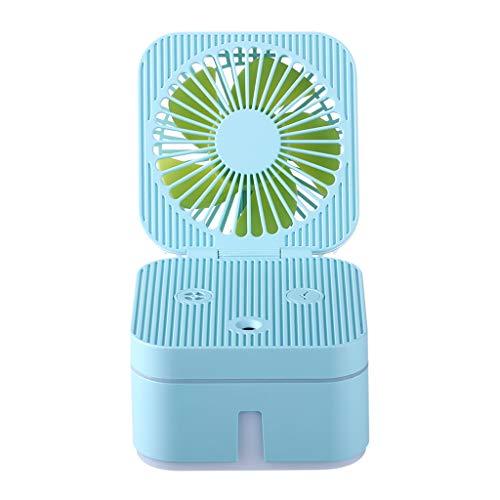 GREEN&RARE Mini ventilador portátil cubo, ventilador silencioso, pequeño ventilador personal con lámpara de ambiente colorido, perfecto para suministros de oficina en casa