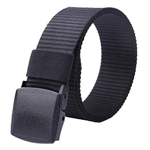 Smart Front® Cinturón Táctico Militar Ajustable Cintura Hombres Lona Nylon YKK Hebilla (Negro)