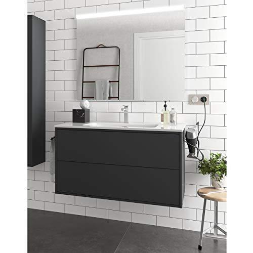 Yellowshop. - Mobile Bagno sospeso 100 cm Stile Moderno 2 cassetti lavabo specchiera LED MOD. Optimus (Nero Opaco)
