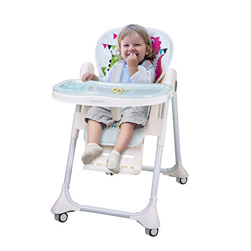 Review Of INCLAKE High Chair with Five-Point Seat Belt Foldable 7 Height Adjustable Waterproof PU Cushion High Chair for Baby and Toddler, Water Green