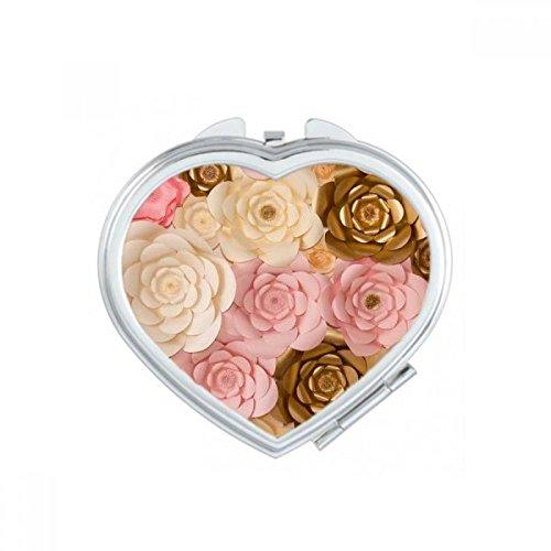 DIYthinker Rose Blanc Belle Fleurs de Coeur de Maquillage Compact Miroir de Poche Portable Mignon Petit Miroirs Main Cadeau Multicolor