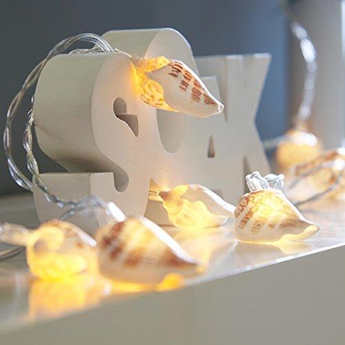 batteriebetriebene Muschel Lichterkette, 10 LEDs warmweiß, echte Muscheln, 1,5m, von Festive Lights