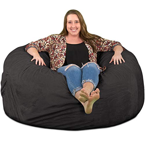 ULTIMATE SACK 5000 Bean Bag Chair: Giant Foam-Filled Furniture - Machine Washable Covers, Double Stitched Seams, Durable Inner Liner, and 100% Virgin Foam. Comfy Bean Bag Chair. (Grey, Suede)