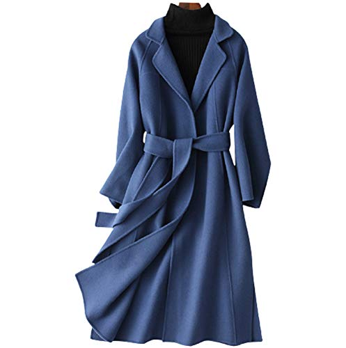 XMZFQ Womens Wool Coats Cashmere Trench Autumn Winter Solid Color Slim Warm Long Overcoat Cardigan Jackets Outwear with Belt,Blue,XS