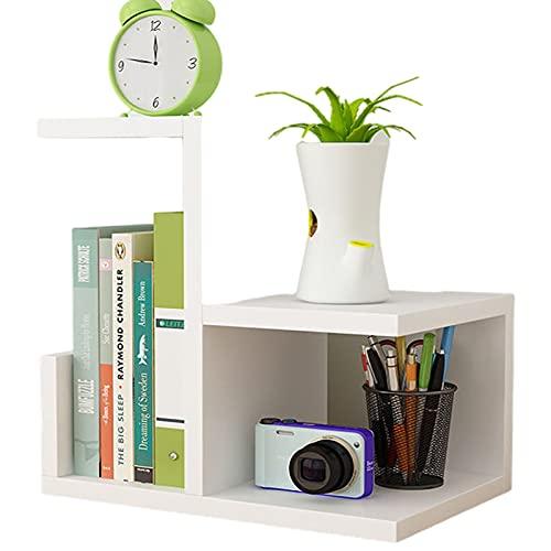 DSKYLODY Estantería pequeña Creativa para Escritorio, Oficina, hogar, estantería para Mesa, estantería Simple, estantería de Almacenamiento de Gran Espacio Resistente a los arañazos de Varias Capas