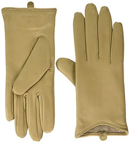 GANT Damen D1. LEATHER GLOVES Handschuh für besondere Anlässe, DARK KHAKI, L