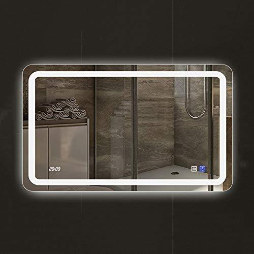 Smart LED Salle de Bains miroir rectangulaire sans Cadre 60 80cm Mural Lampe Anti-buée miroir Temps affichage de la température