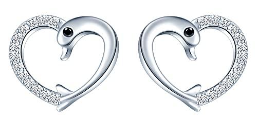 MicLee-Simple animal marino lindo delfín creativo en forma de corazón pendientes de circón S925 pendientes de plata esterlina regalo de moda y lindo para mujeres color:plata