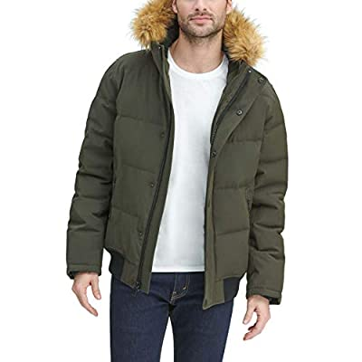 Tommy Hilfiger Men's Quilted Arctic Cloth Snorkel Bomber Jacket with Removable Hood (Standard and Big & Tall), Dark Forest, XXX-Large