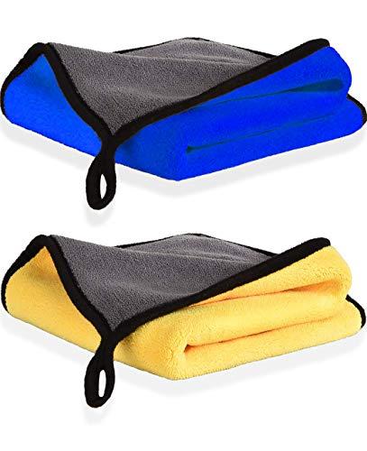 Panno Asciugatura di Pulizia in Microfibra Superfine, Panni per Lucidatura ad Alto Grado di Assorbimento e Resistenza per Auto o la Casa, 2 Pezzi