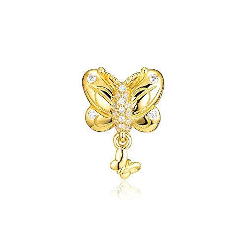 LILANG Pulsera de joyería Pandora 925, dijes de Mariposa Decorativos Dorados Naturales, Cuentas de Plata esterlina con Ajuste Original para Hacer Cuentas para Mujeres, Regalo DIY