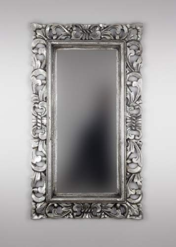 Rococo Espejo Decorativo de Madera Kamblung de 40x70cm en Plata ¡Oferta!