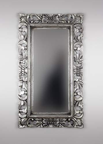 Rococo Espejo Decorativo de Madera Kamblung de 40x70cm en Plata (Envejecida)