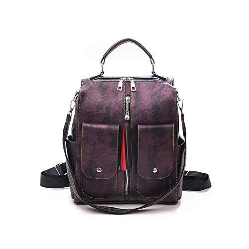 change Retro-Leder-Rucksack für Damen, mit Reißverschluss, für Teenager, Mädchen, große Kapazität, multifunktional Xa227H, Violett (violett), size