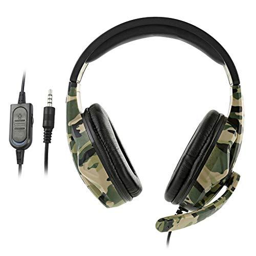 figatia Fones de Ouvido para Jogos Camo 3,5 Mm com Fio E Microfone para PS4 NS Xbox One 360