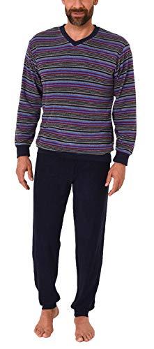 Edler Herren Frottee Schlafanzug Pyjama mit Bündchen in Streifenoptik - 291 101 13 580, Farbe:Marine, Größe2:50